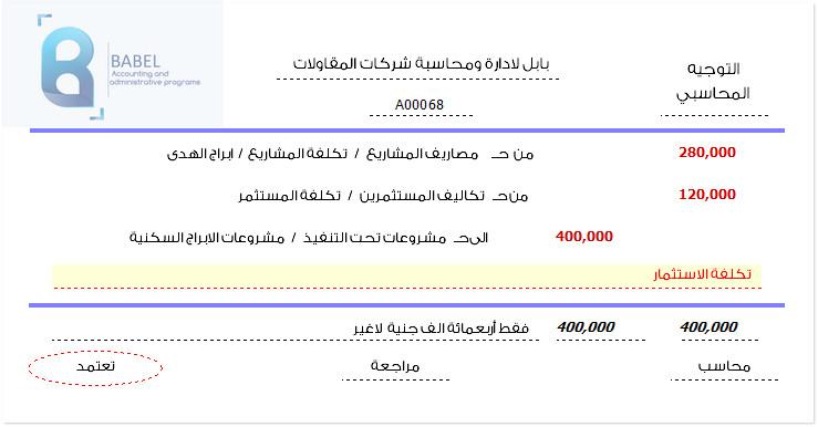 تكلفة المشروع وتحملها  لكل من المؤسسين و المستثمر